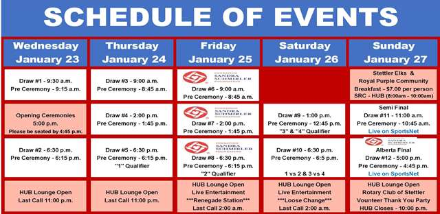 scotties - schedule of events